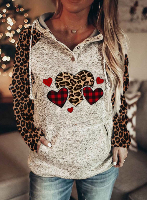 Women's Hoodies Drawstring Long Sleeve Button Leopard Love-shaped Casual Hoodies With Pockets