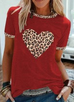 Women's T-shirts Leopard Heart-shaped Color-block Short Sleeve Round Neck T-shirt