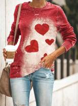 Women's Pullovers Heart-shaped Color Block Round Neck Long Sleeve Casual Pullover