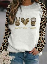 Women's Sweatshirts Round Neck Long Sleeve Leopard Daily Sweatshirts