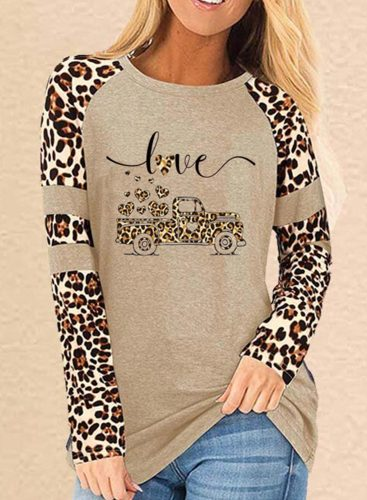Women's Sweatshirts Round Neck Long Sleeve Solid Leopard Letter Casual Sweatshirts