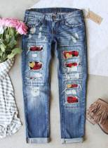 Women's Jeans Plaid Heart-shaped Print Slim High Waist Ankle-length Pocket Ripped Jeans