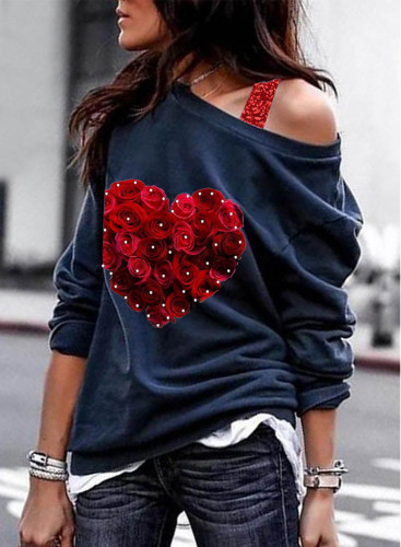 Women's Pullovers Casual Off-shoulder Long Sleeve Solid Sequin Rose Daily Pullovers