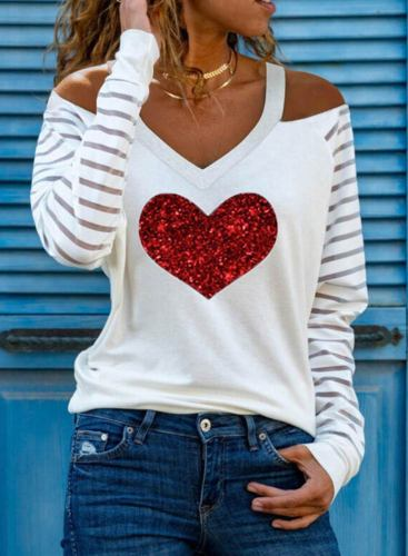 Women's Sweatshirts V Neck Long Sleeve Sweatheart Striped Casual Sweatshirts