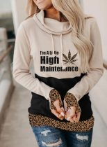Women's Sweatshirt Leopard Letter Color-block Long Sleeve Turtleneck Daily Casual Basic Sweatshirt