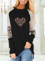 Women's Sweatshirts Round Neck Long Sleeve Leopard Sweatshirts