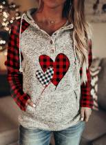 Women's Hoodies Color-block Plaid Long-sleeve Pocket Hoodie
