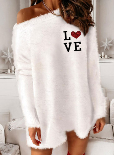 Women's Sweaters One Shoulder Long Sleeve Love Solid Casual Winter Sweaters