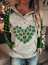 Women's Hoodies Casual Letter Plaid Color Block Button Drawstring Long Sleeve Pocket Hoodies