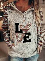 Women's Hoodies Letter Tribal Print Long Sleeve Button Pocket Hoodie