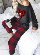Women's Loungewear Sets Long Sleeve Round Neck Solid Plaid Sets