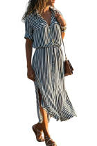 Asvivid Womens Striped Button Down V Neck Roll up Sleeve Split Shirt Maxi Dress with Belt