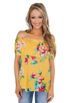 Yellow Grow with Me Off The Shoulder Floral Top