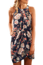 Asvivid Womens Halter Floral Printed Sleeveless High Waist High Low Summer Beach Dress with Belt