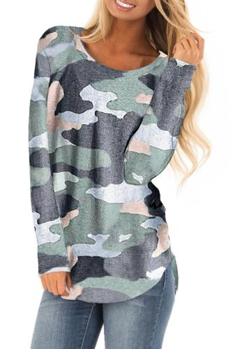 Asvivid Womens Camouflage Print Long Sleeve Pullover Tops Loose Crewneck Autumn Knit Tunic Sweatshirt