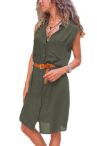 Asvivid Womens Casual Sleeveless V Neck Button Down Pocket Loose Shirt Midi Dress With Belt
