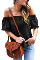 Asvivid Womens Off the Shoulder Short Sleeve Tops Pop Pop Trim Tassel Loose Summer Shirt Blouses