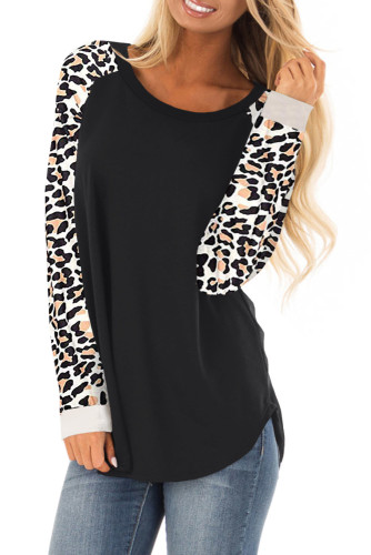 Asvivid Womens Leopard Print Color Block Long Sleeve Pullover Sweatshirt Tops Loose Crewneck Tunic Tops