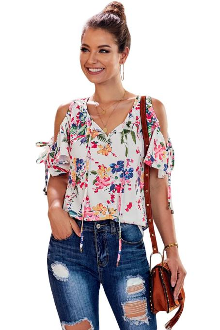 Asvivid Womens Summer Cold Shoulder Short Sleeve T-Shirt V Neck Floral Printed Loose Blouses Tops