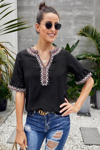 Asvivid Womens Boho Embroidered V Neck Short Sleeve Summer Shirt Blouses Tops S-2XL