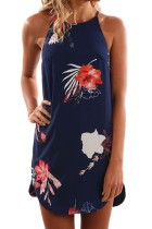 Asvivid Womens Summer Halter Neck Floral Print Sleeveless Casual Mini Dress