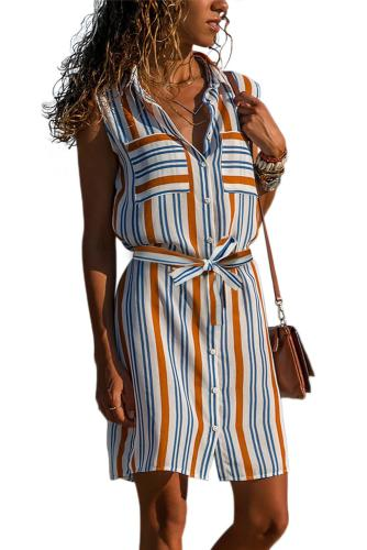 Asvivid Womens Casual Button Up Lapel V Neck Striped Printed Tie Waist Shirt Dress Sleeveless Midi Dress