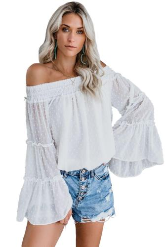 Asvivid Womens Off the Shoulder Flared Bell Sleeve Tops Dot Printed Loose Fall Shirt Blouses