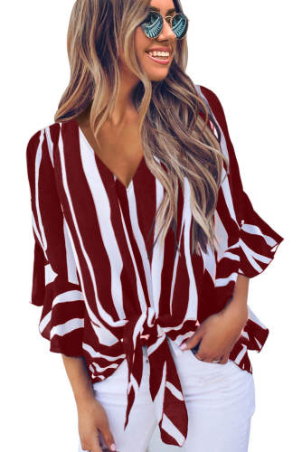 Asvivid Womens Fall Striped V Neck Tops 3/4 Flare Sleeve Tie Knot Loose Blouses and Tops