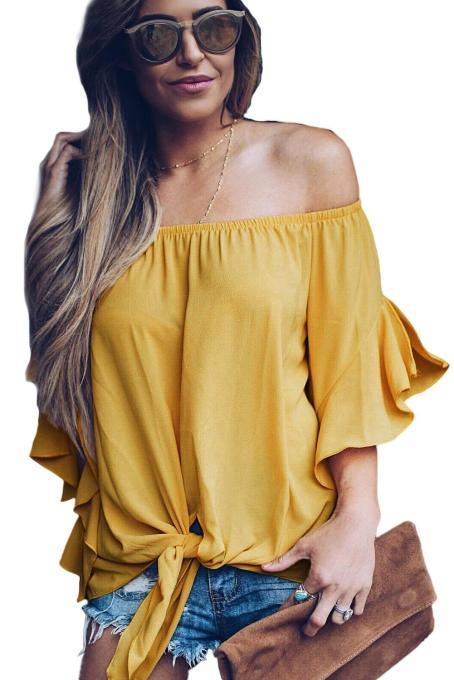 Asvivid Womens Solid Off the Shoulder Tops 3 4 Flare Sleeve Tie Knot Blouses and Tops