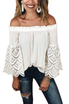 Asvivid Womens Off the Shoulder Bell Long Sleeve Tops Hollow Out Shirring Loose Shirt Blouses