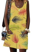 Asvivid Womens Summer Leaves Printed Button Sleeveless Crewneck Casual Mini Dress with Pocket