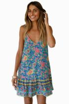 Asvivid Womens Casual Floral Printed V Neck Spaghettic Strap Ruffle Summer Loose Beach Short Mini Dress