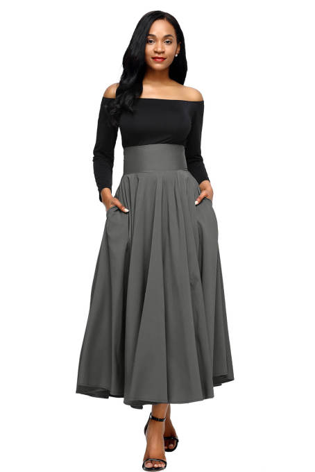 Asvivid Women's High Waist Pleated A Line Long Skirt Front Slit Belted Maxi Skirt S-XXL