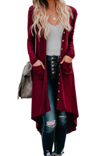 Asvivid Womens Open Front Long Cardigans Solid Button Down Knit Sweater Coat With Pocket