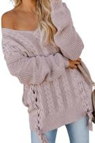 Asvivid Womens V Neck Pullover Sweaters Oversized Lace Up Long Sleeve Cable Knit Winter Jumper Tops