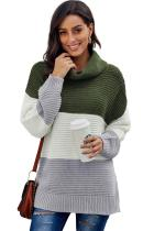 Asvivid Womens Long Sleeve Turtleneck Sweater Color Block Pullover Sweater Tops