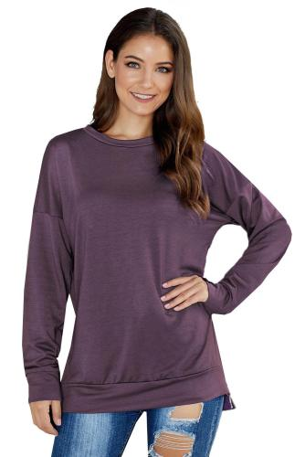 Asvivid Womens Crewneck Long Sleeve Zipper Tunic Sweatshirt Solid Pullover Tops
