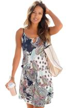 Asvivid Womens Casual Spaghetti Straps Crew Neck Printed Beach Mini Dress Sundresses S-XL