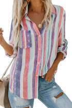 Asvivid Womens Casual Colorful Striped Shirt Lapel V Neck Roll Long Sleeve Pocket Loose Flowy Chiffon Blouses Tops