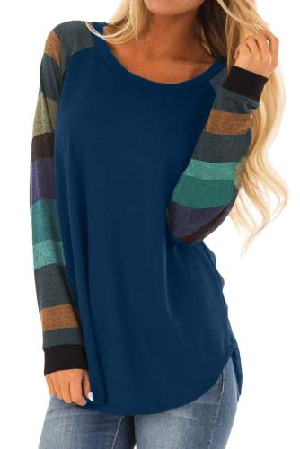 Asvivid Womens Color Block Crewneck Long Sleeve Pullover Sweatshirt Tunic Tops