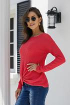 Asvivid Womens Long Sleeve Crewneck Sweater Twist Knot Solid Loose Pullover Sweater Tops