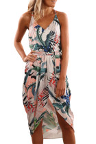 Asvivid Womens Summer Floral Printed Wrap V Neck Spaghettic Strap Split Casual Beach Dress with Belt