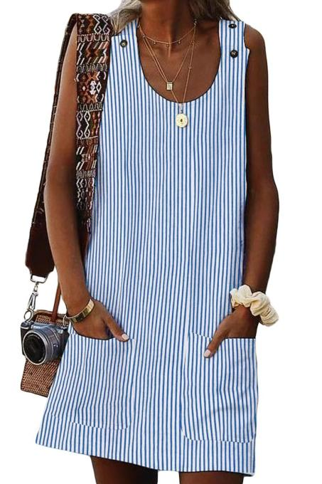 Asvivid Womens Summer Striped Sundress Button Crew Neck Sleeveless Casual Mini Dress with Pocket