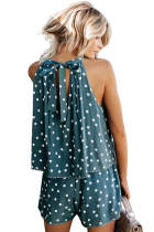 Asvivid Womens Summer Halter Floral Print Sleeveless Casual Romper Shorts Jumpsuits Playsuit