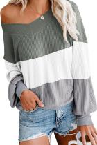 Asvivid Womens Color Block Off The Shoulder V Neck Pullover Sweater Fall Batwing Sleeve Waffle Knitted Sweaters Jumper Tops