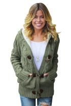Asvivid Womens Button Down Cable Knit Cardigans Fleece Hooded Zipper Sweater Coats With Pockets