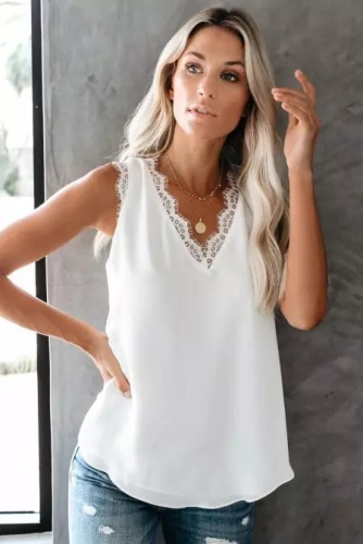 Renaowin  White Sleeveless Eyelash Lace V Neck Tank Top