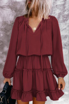 LAIKITITE Wine V Neck Long Sleeve Ruffle Tiered Mini Dress
