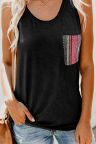 Black Casual Women Tank Top with Multicolor Pocket