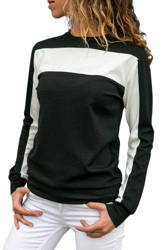 Black Color Block Round Collar Sweatshirt